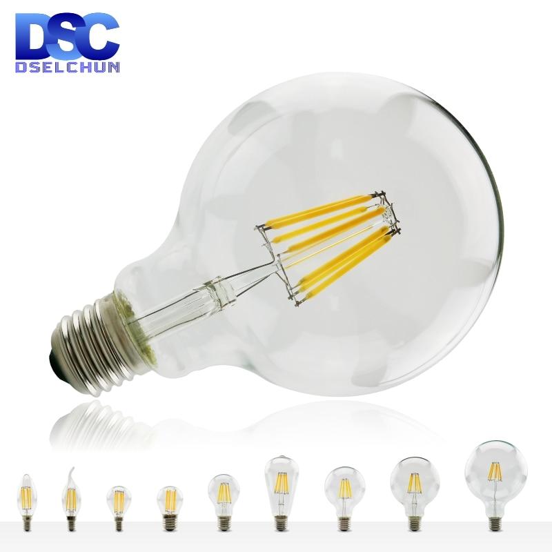 Светодиодный ная лампа накаливания E27 E14 Ретро лампа Эдисона 220V-240V светильник вая лампа C35 G45 A60 ST64 G80 G95 G125 стеклянная винтажная лампа в виде св...