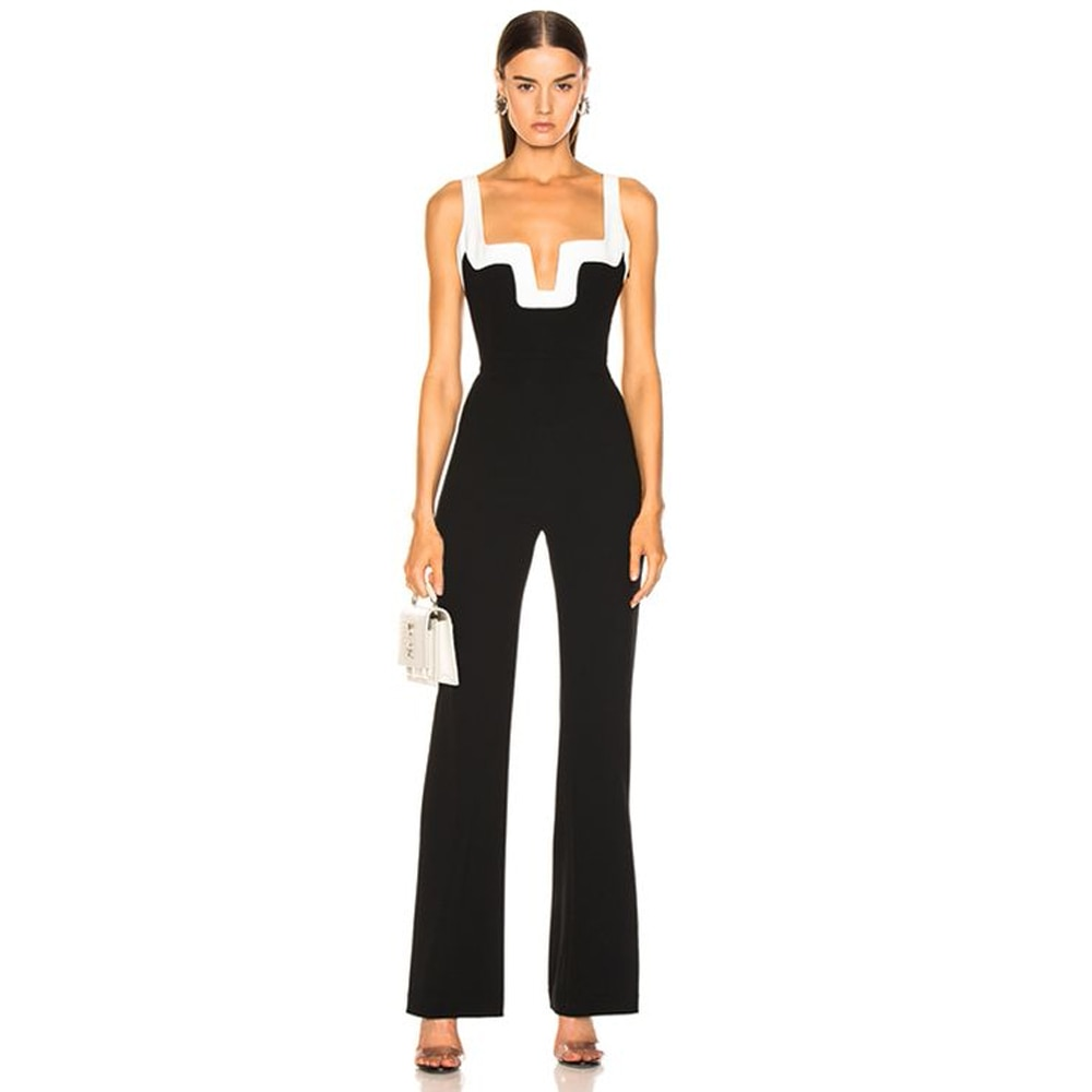 Spaghetti Strap v-neck runway women black jumpsuit Celebrity Evening Party runway Rompers Bodycon Bodysuit Holiday Party Wear