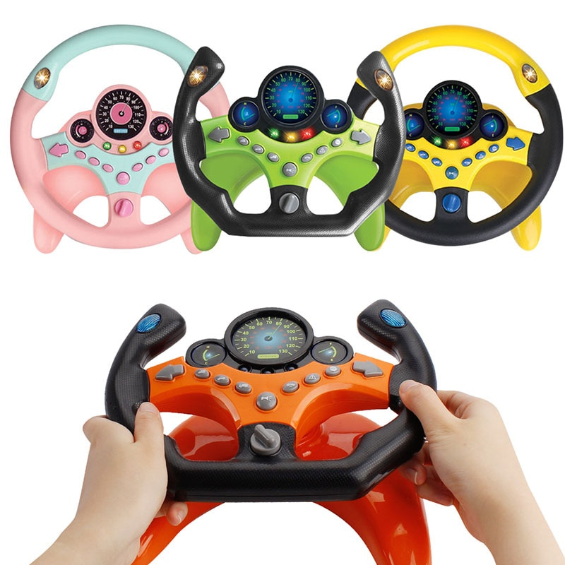 Electric Simulation Steering Wheel Toy With Light Music Baby Children Toys Puzzle Baby Carriage Steering Wheel Vocal Toys