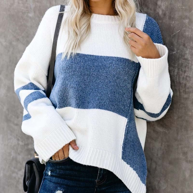 Women Sweaters Casual Striped Color Block Jumpers Round Neck Long Sleeve Loose Oversized Knitted Fluffy Sweatershirt Pullover brief round collar color block knitted women pullover