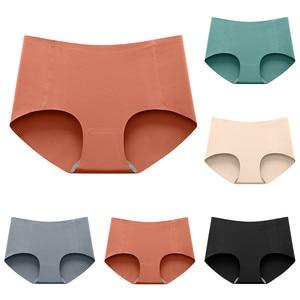 Women Briefs Seamless Panties Silk Mid Waist Underwear For Female Girls Large Size Women's Panties Set Solid Underpant Lingerie