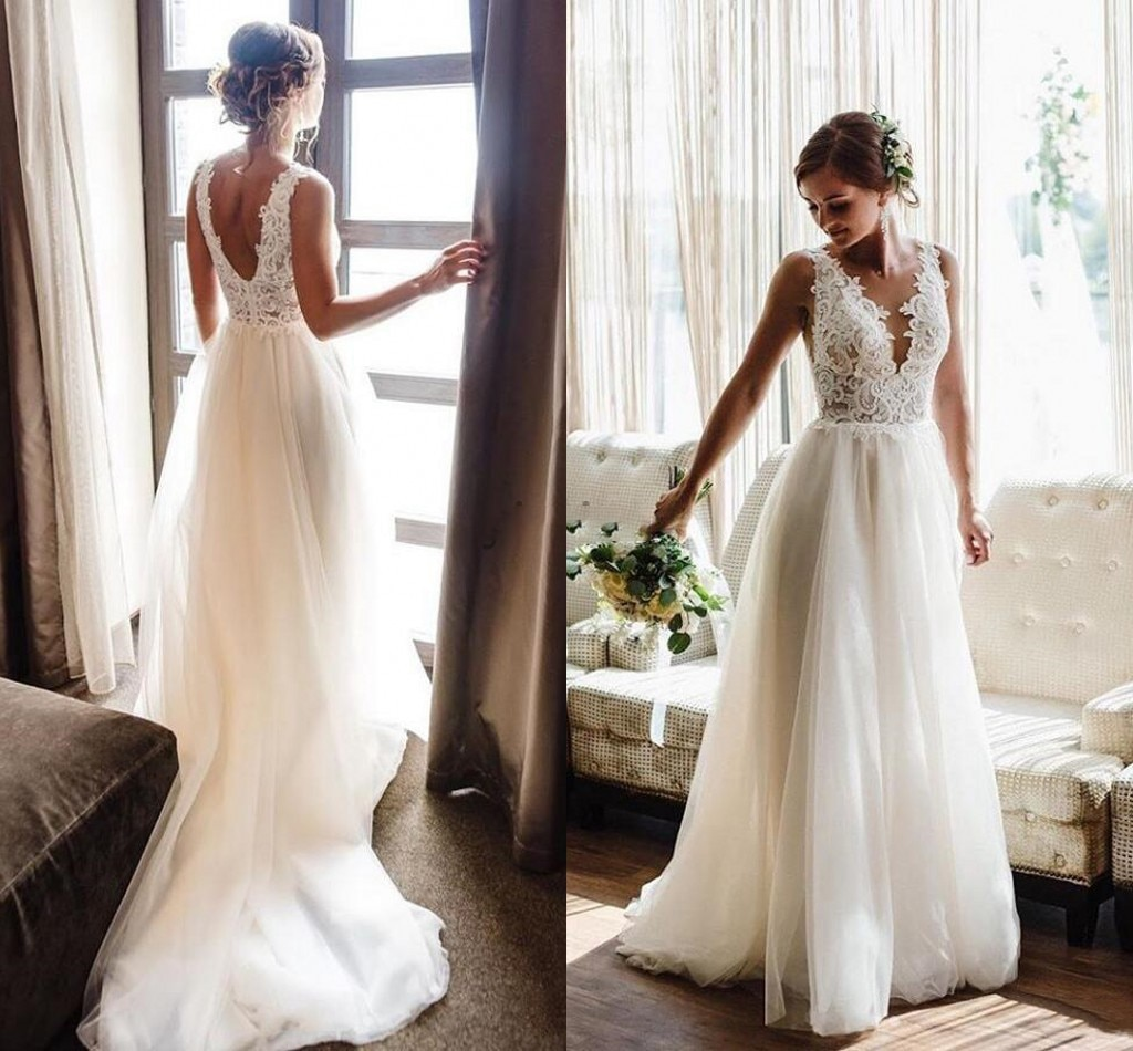 Свадебное Платье Country Wedding Dresses V Neck Backless Appliques Beads Garden Beach Boho Bridal Gowns Vestidos De Novia