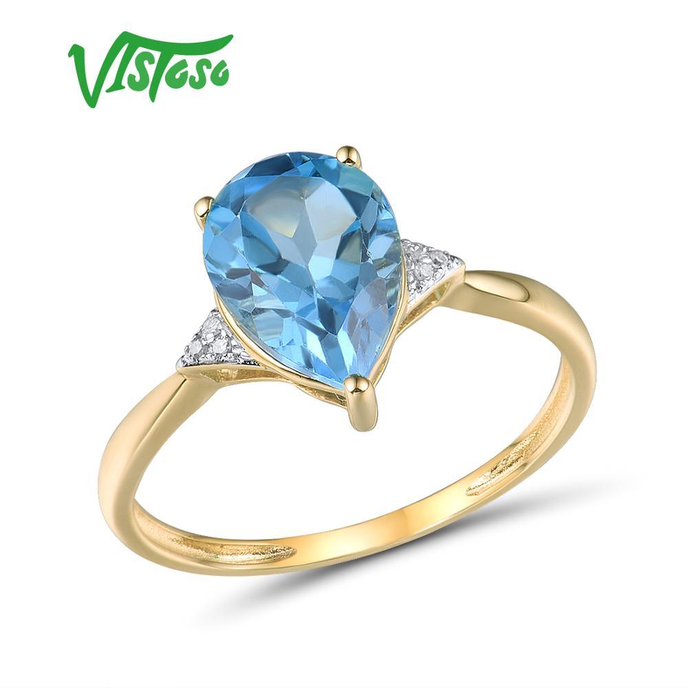 Anillo de oro amarillo VISTOSO Pure14K 585 para mujer, Diamante brillante, Topacio azul claro, joyería de aniversario clásico bonito