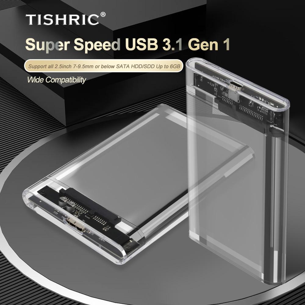 Tishric transparente hdd caso caddy caixa hdd gabinete 2.5 ssd sata para usb 3.0 tipo-c 3.1 adaptador caixa de disco rígido externo