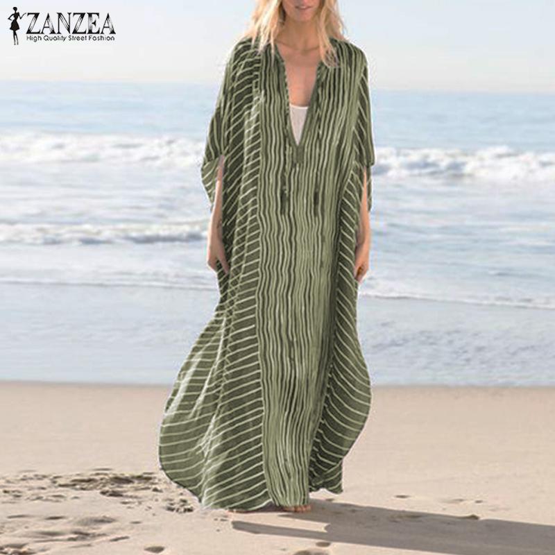 2020 ZANZEA mujeres Vestido bohemio de moda de verano Deep V cuello Sundress manga rayas playa Split Maxi Vestido largo Kaftan