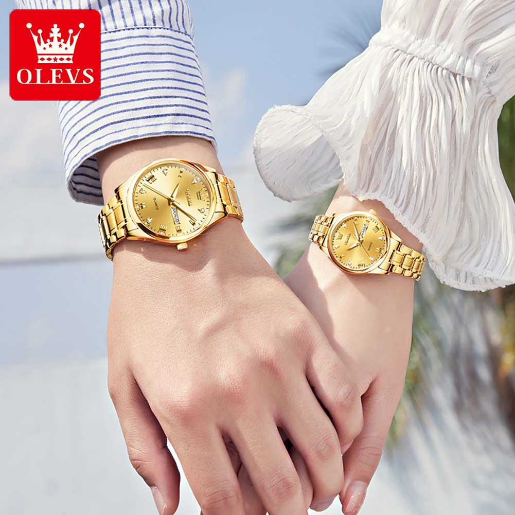 Couple Watch Men Women Watches Luxury Gold Stainless Steel Elegant Lover Watches Paired Watch For Co