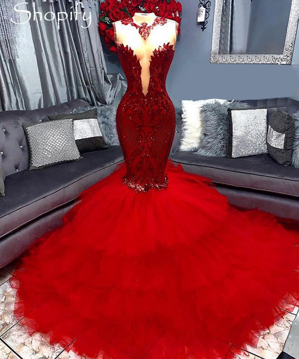 فستان حفلة طويل أحمر على شكل حورية البحر ، تول ، فستان سهرة أنيق ، نمط أفريقي أسود للفتيات ، 2021