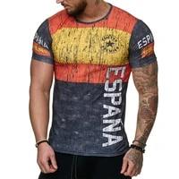summer spanish flag jerseys men shirts swedish letter 3d printing mens t shirt breathable streetwear casual clothing xxs 6xl