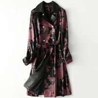 2021 spring real soft sheepskin coat slim long high quality genuine leather jacket print windbreaker female high street wear
