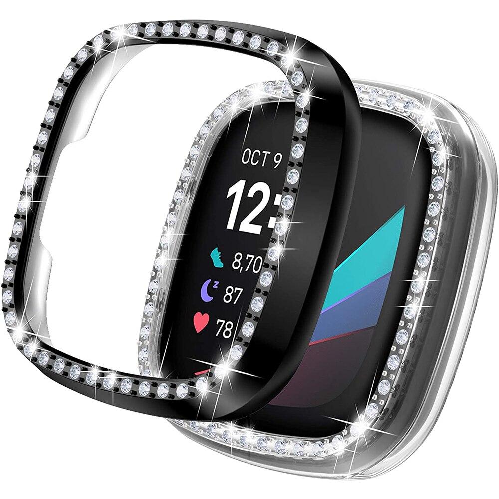 Чехол для Fitbit Versa 3 & Sense, блестящий чехол для женщин и девочек с кристаллами и бриллиантами, защитный чехол-бампер для часов, чехол s Для Fitbit Sense чехол