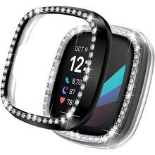 for Fitbit Versa 3 & Sense Case Bling Women Girl Dressy Crystal Diamonds PC Protective Bumper Watch