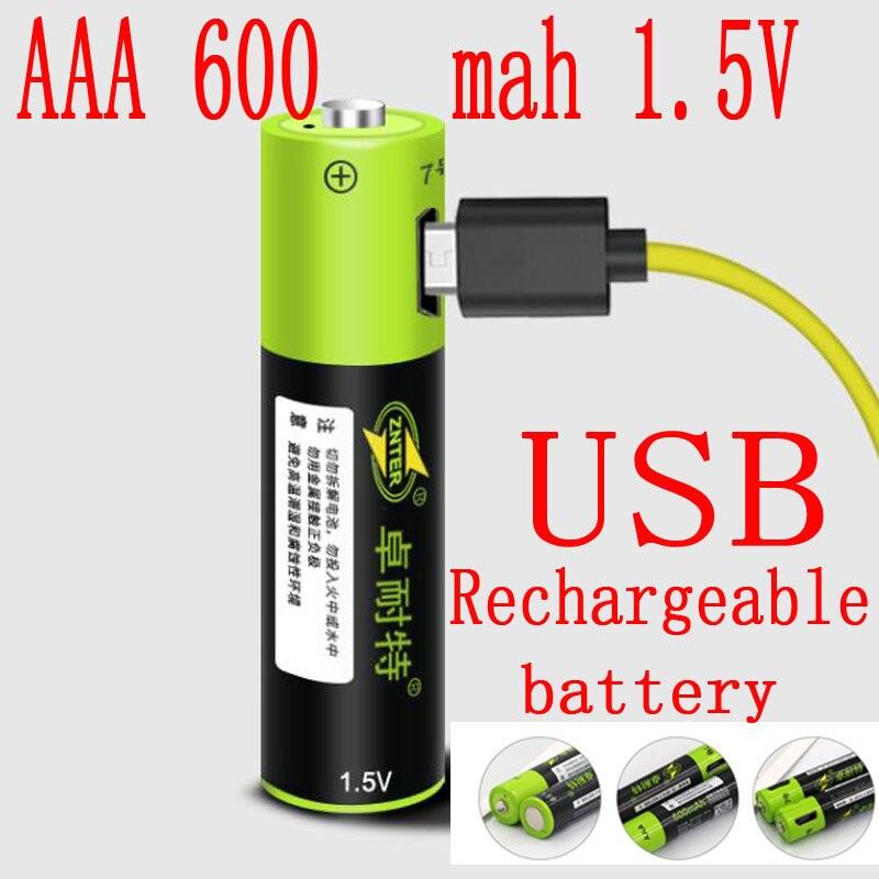 Neue produkt ZNTER 1,5 V 600mAh 900mwh USB Aufladbare AAA Lipo Batterie li-polymer lithium-li-ion batterie Hohe kapazität