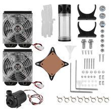 Bricolage PC Kit de refroidissement par eau ventilateur 120mm radiateur CPU GPU dissipation thermique pompe à eau réservoir ordinateur de bureau ensemble de refroidissement pour les ventilateurs de bricolage