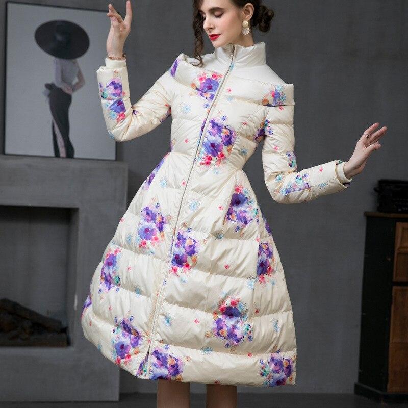 الشتاء المرأة الأزهار طباعة معاطف طويلة أسفل سترة فرنسا نمط أنيقة السيدات تنورة معطف سميكة الدافئة ملابس خارجية حجم S-XXL