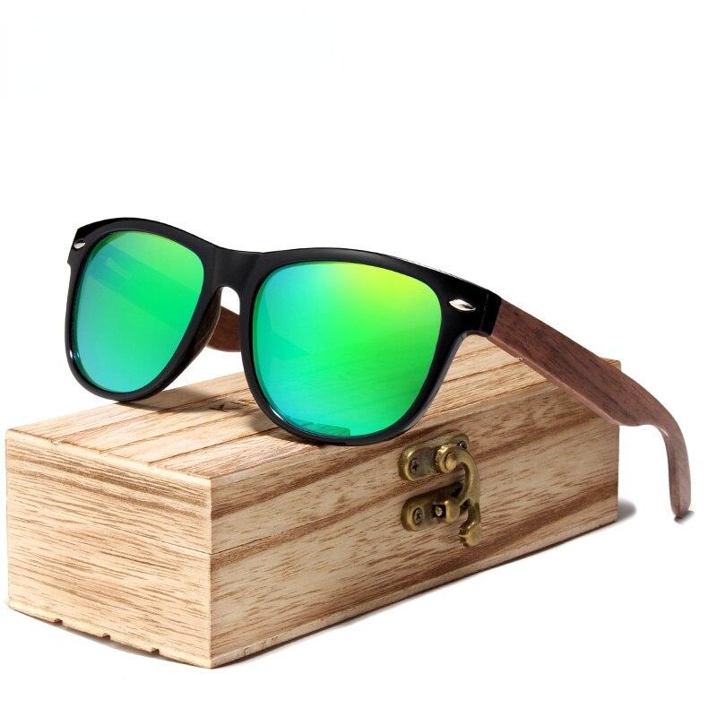 Солнцезащитные очки Мужские поляризационные, темные очки из черного ореха, с деревянной коробкой, с УФ-защитой