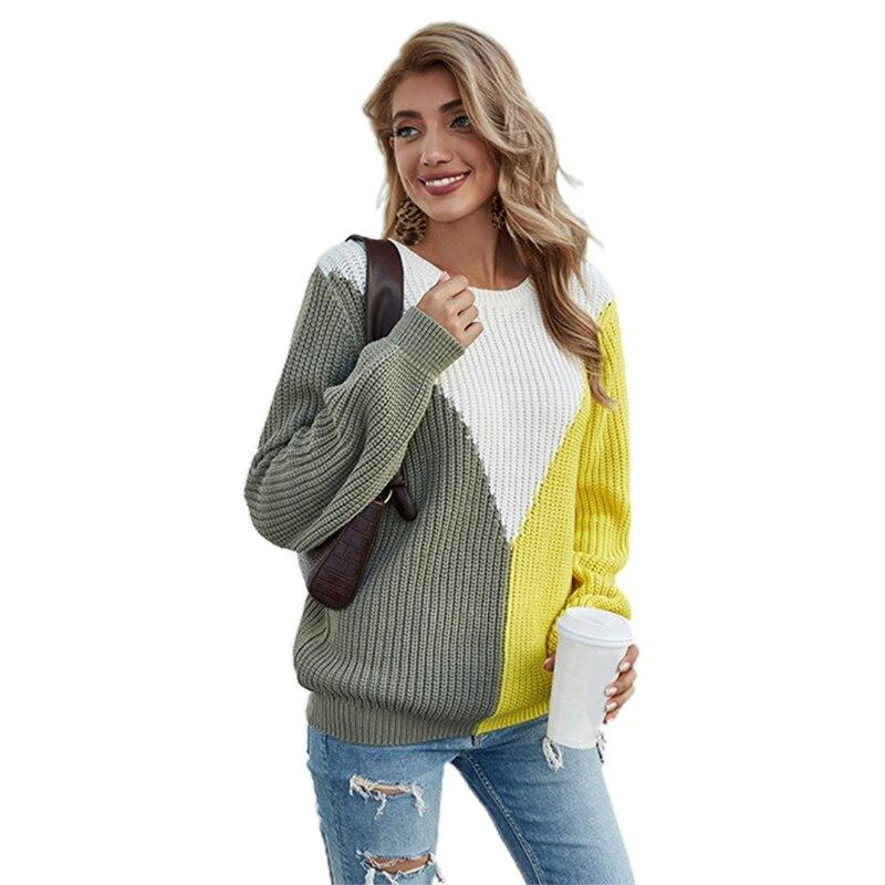 Women Long Sleeve O-Neck Sweater V-Shape Color Block Loose Jumper Tops Knitwear enlarge