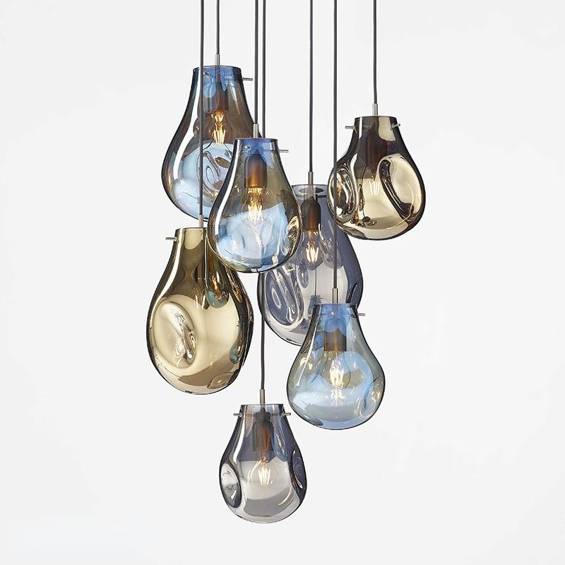الحديثة الحد الأدنى الملونة الزجاج قلادة LED ضوء غرفة نوم السرير مقهى مطعم الإبداعية مصمم تركيبات معلقة ضوء المصباح