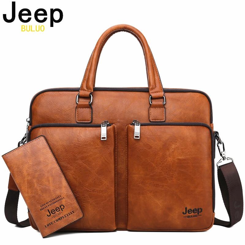 JEEP BULUO de los hombres de la marca portátil negocios bolsos de hombre maletín de gran capacidad de cuero bolso de hombro Casual para hombres