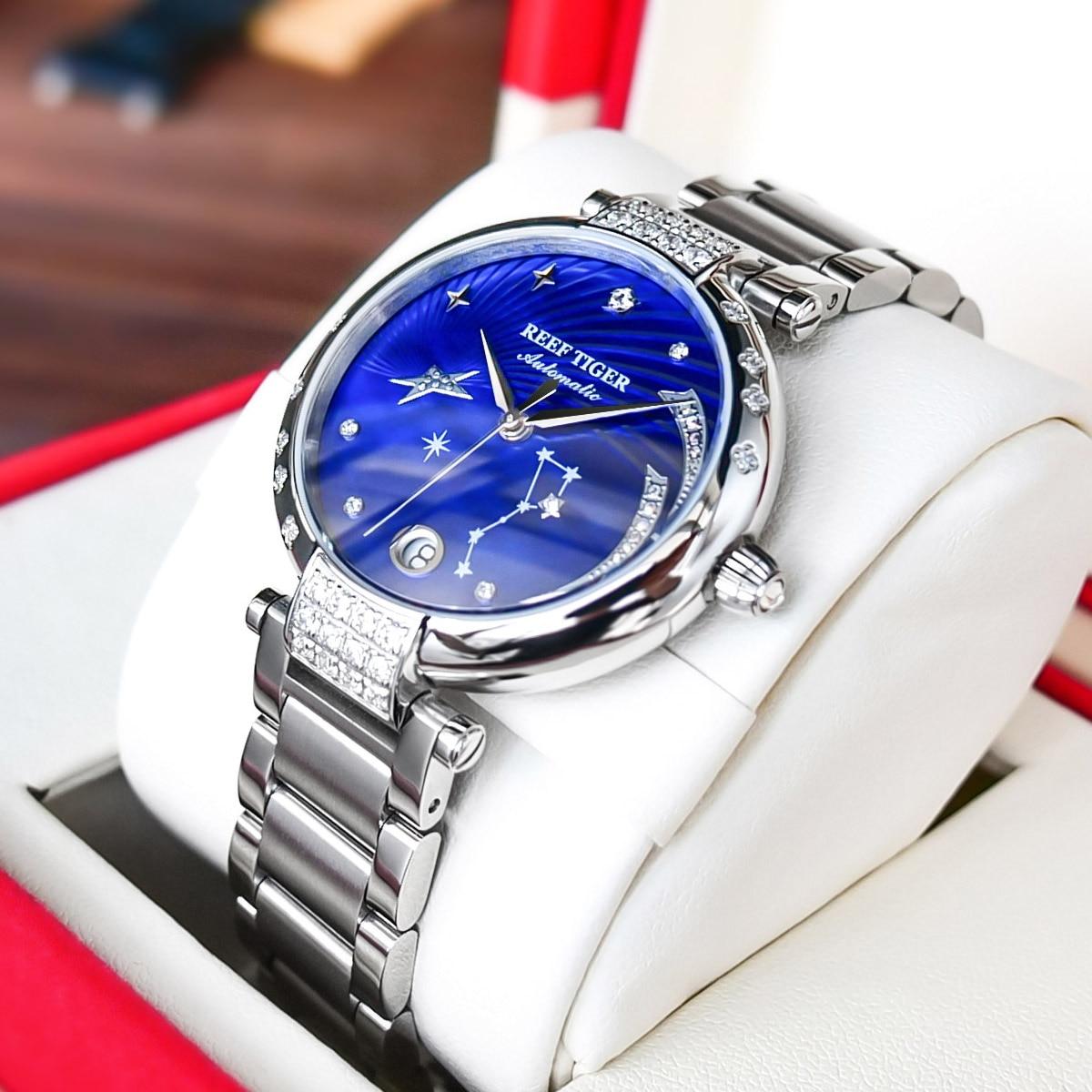 Reef Tiger/RT Top Brand Luxury Women Watch Ceramic Bracelet Diamond Automatic Mechanical Shell Watches Clock RGA1592