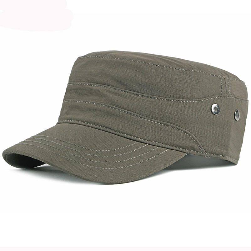 HT3078 High Quality Men Women Cap Solid Cotton Baseball Hat Flat Top Cadet Army Military Sun Spring Summer