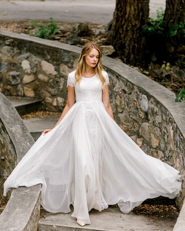 2020 nova linha a do laço chiffon vestidos de casamento modestos com mangas curtas champagne forro jewel boho informal lds vestido de noiva