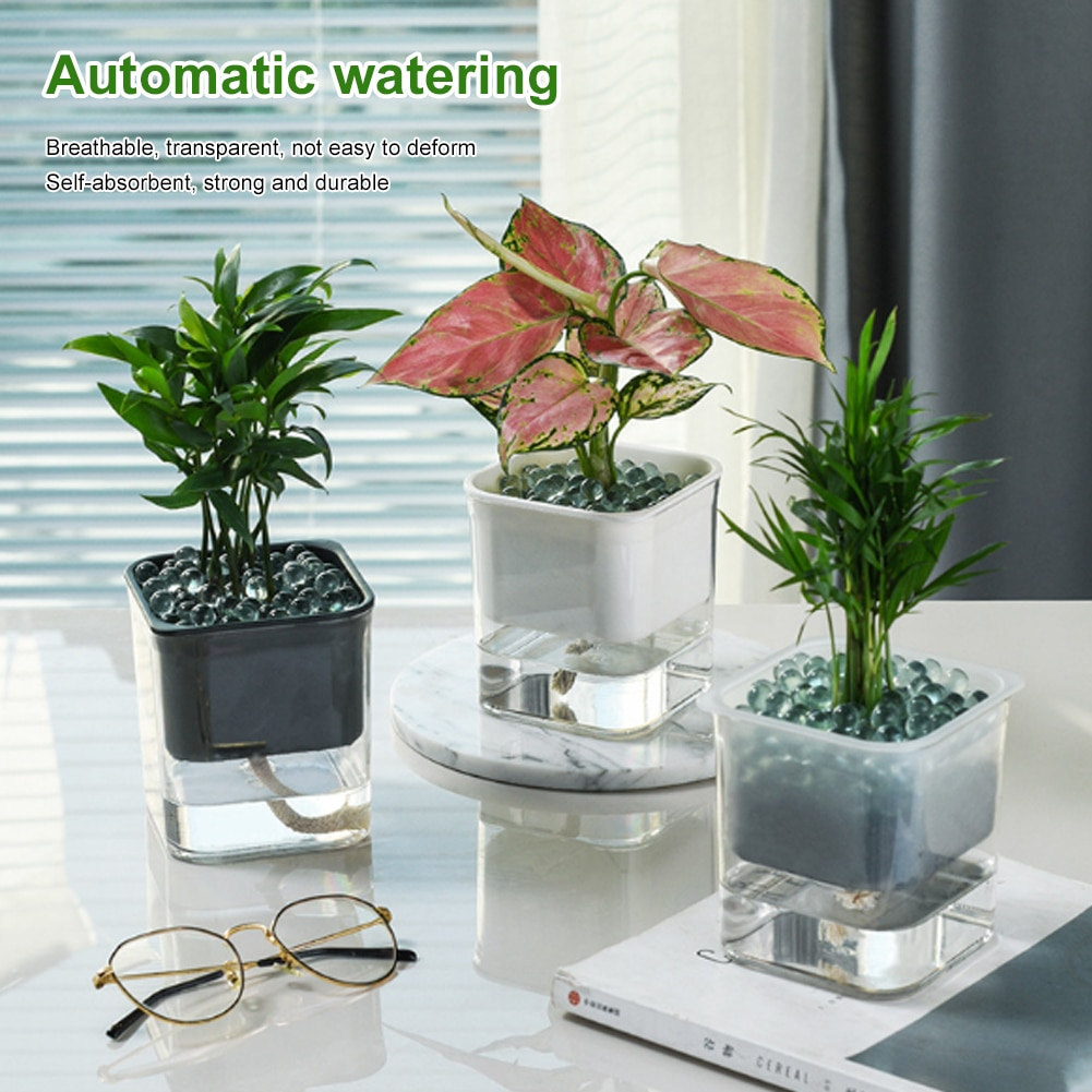 Auto Irrigate Flower Pot Vase Automatic Watering Planter Lazy Planting Round (excluding plants)