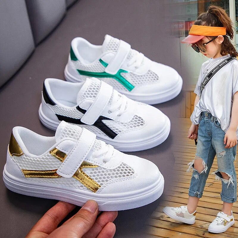 Spring And Autumn Boys 2021 New Childrens Hollow Sports Casual Shoes Light and Breathable Girls Small White