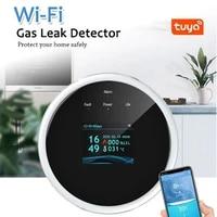 Capteur de gaz naturel Tuya Wifi  alarme de gaz Combustible domestique  capteur de fuite de gaz  Compatible avec Amazon Alexa Google Assistant