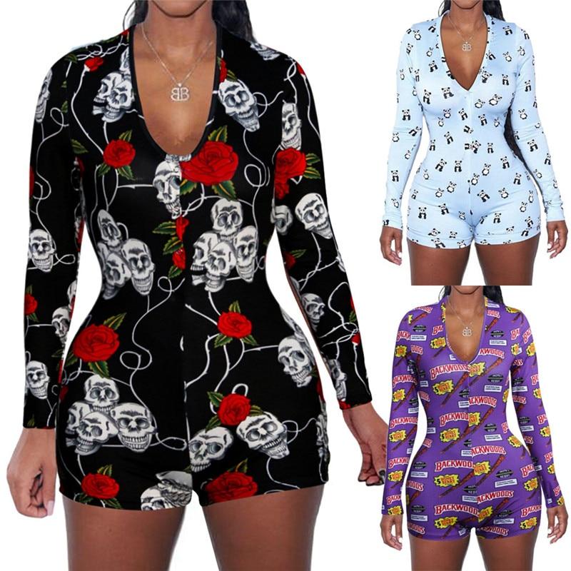 Sexy Women V-neck Animal Print Bodycon Sleepwear Jumpsuit Button Bodysuit Shorts Romper 3 Colors Leotard Long Sleeve Bodysuit