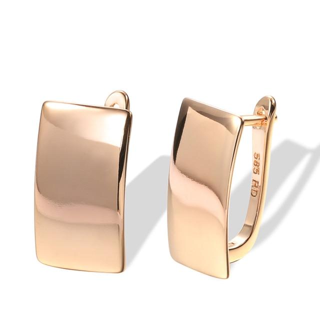 Популярные модные глянцевые висячие серьги Kinel, простые квадратные серьги из розового золота 585 пробы для женщин, высококачественные повседневные изящные ювелирные изделия|Украшения и аксессуары|| | АлиЭкспресс