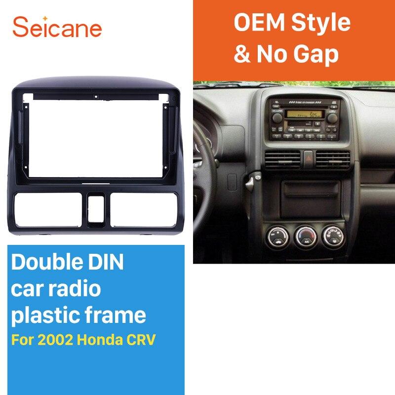 Seicane Fascia cadre noir 9 pouces   Pour 2002 HONDA CRV Kit de montage du tableau de bord panneau de garniture sans fente