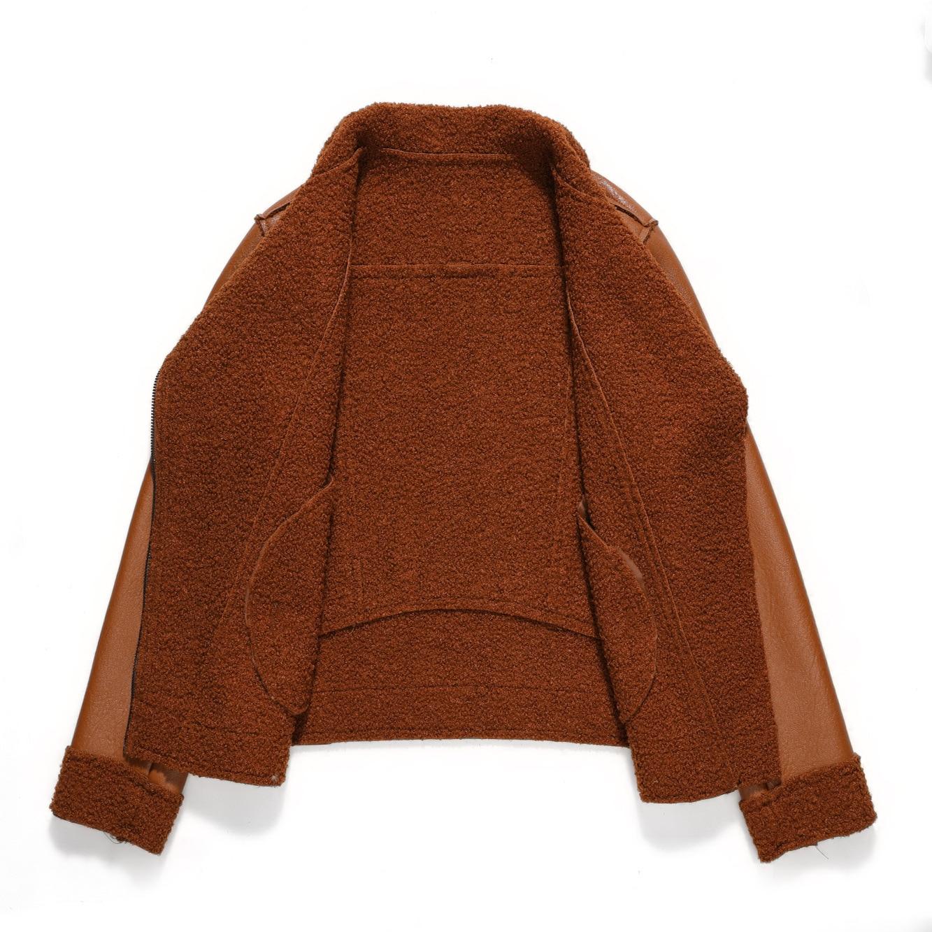 Apperloth Winter Women Faux Lamb Leather Jacket  Women Punk Lapel Thickened Padded Warm Zipper Fur Outwear fall 2020 women coats enlarge