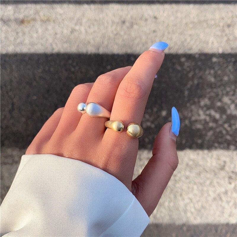 SRCOI металлические Асимметричные купольные шарики, Открытое кольцо, минималистичное модное золотистое серебряное открытие, регулируемое массивное кольцо на палец для женщин