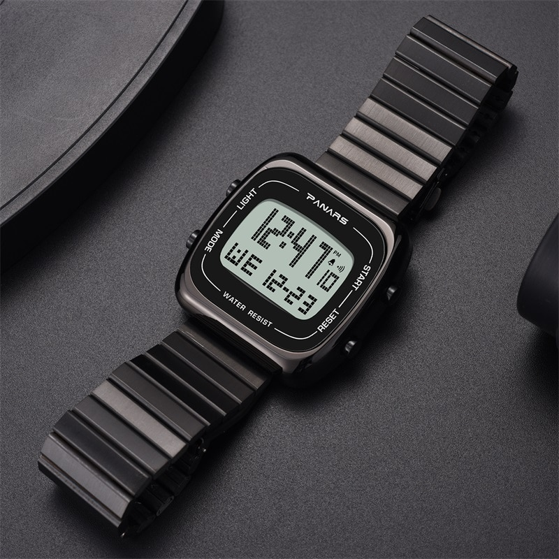 Gold Luxury Top Brand Stainless Steel High Quality Sliver Retro Classical Shock Resistant Back Light Digital Men Wristwatch enlarge