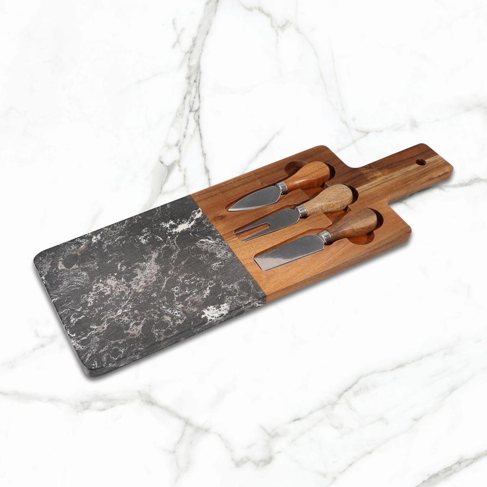 Jaswehome الاصطناعي الرخام و السنط الجبن مجلس مع 3 قطعة الجبن سكين مجموعة الجبن مجداف مجلس بالسكاكين KIithen أدوات