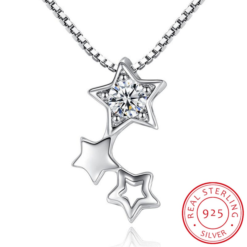 925 Sterling Silver Necklace Pendant Fine Jewelry New Woman Five-pointed Star Crystal Zirconia Necklace Length 45CM