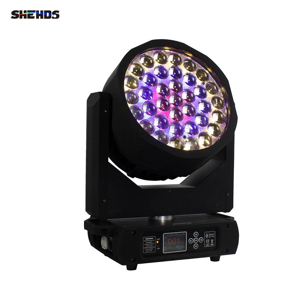 SHEHDS جديد وصول 37X15W LED زووم غسل RGBW كشاف أمامي متحرك DMX 16/24/29 CH DJ ديسكو حفلة أضواء للمسرح