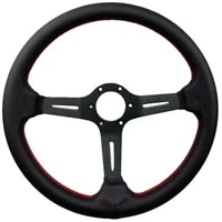350mm steering wheel nd real leather racing drifting tuning steering wheel red stitching with horn button