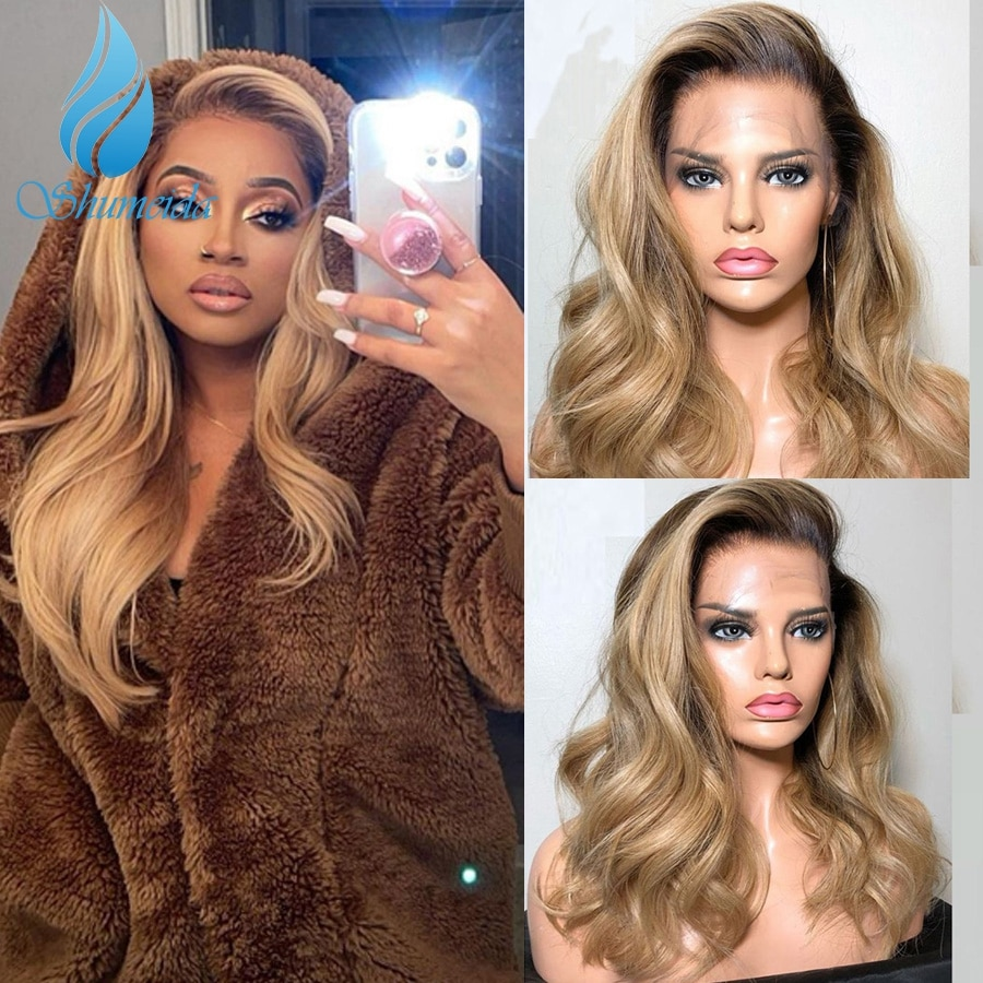 Shumeida Ombre Honey Golden Color 13x4 Lace Front Human Wigs Brazilian Remy Human Hair Gluless Wig for Black Women Pre Plucked