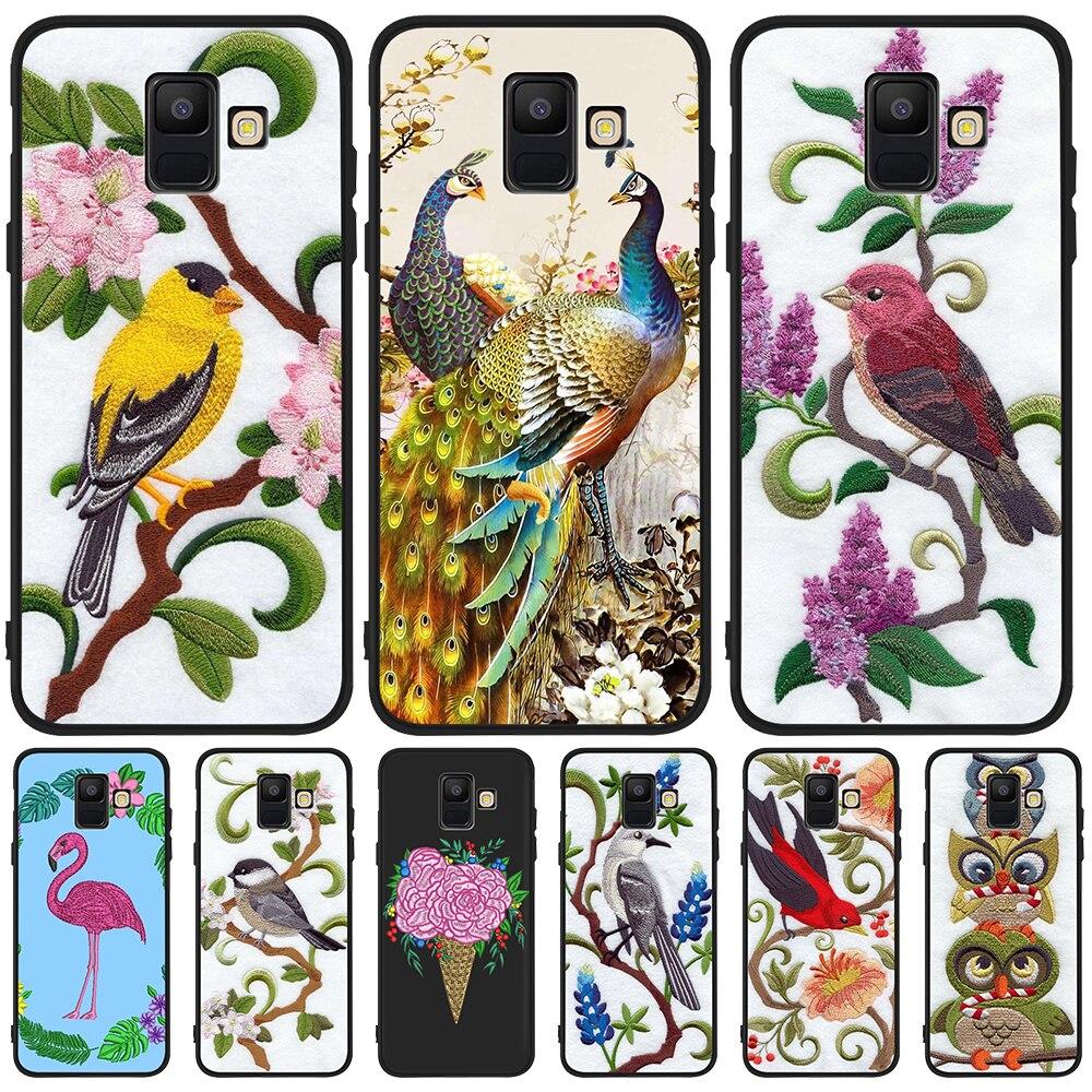 Bordado flamingo aves para Samsung Galaxy A9 A8 A7 A6 A5 A3 J3 J4 J5 J6 J8 Plus 2017 M30 A40S A10 A20E cubierta de la caja del teléfono estuche