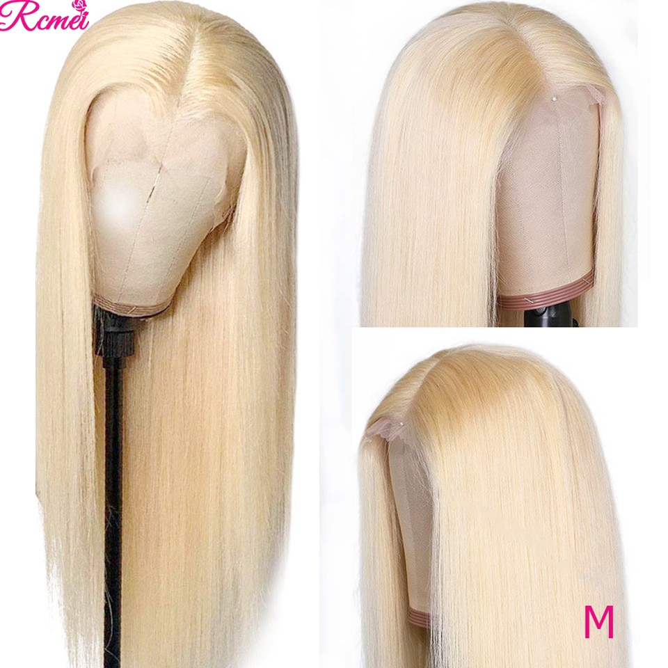 Lace Frontal Wig 613 Honey Blonde Lace Front Human Hair Wigs Brazilian Straight Transparent 13*1 Lace Wig pre plucked 150 Remy