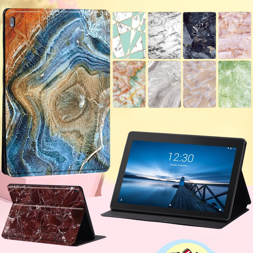 For Lenovo Tab E10/Lenovo Tab M10 10.1 Inch Anti-fall Leather Stand  Cover Case Marble Series Flip Tablet Case + Free Stylus