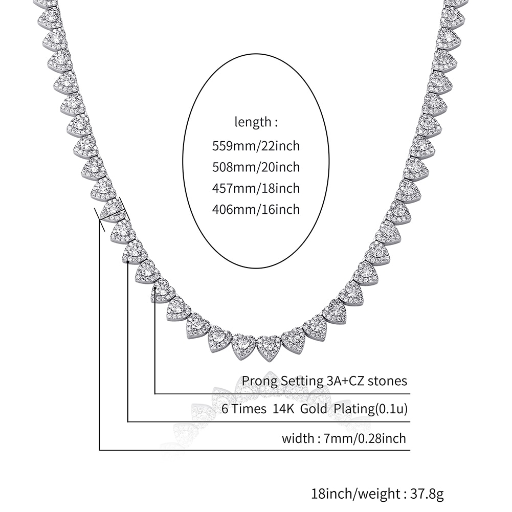 TOPGRILLZ 2021 New Heart Tennis Necklace Set Iced Cubic Zirconia 7mm Necklace For Women Choker Hip Hop Fashion Jewelry For Gift