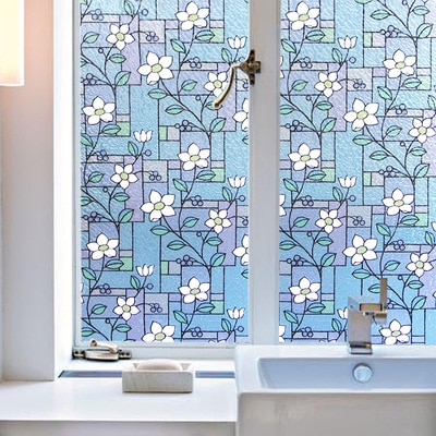 Cor Impresso Parede Adesivos Não-adesiva Eletrostática Opaco Filme Vidro Da Janela Do Banheiro Decoração Decoração Da Casa de Vidro Colorido