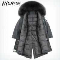 2020 new winter coat women 90 white duck down jacket korean raccoon fur collar puffer jacket women embroidery warm parka yy1627