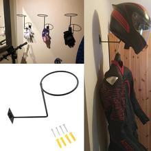 Soporte de acero para casco de motocicleta, perchero montado en la pared, gancho para abrigos, sombreros, gorras, estante para casco, color negro