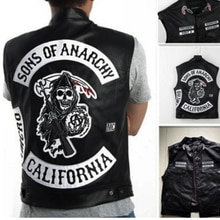 2020 NEW Motorcycle Leather Vest Men Son of anarchy Spring New Fashion Punk Sleeveless Jacket V Neck