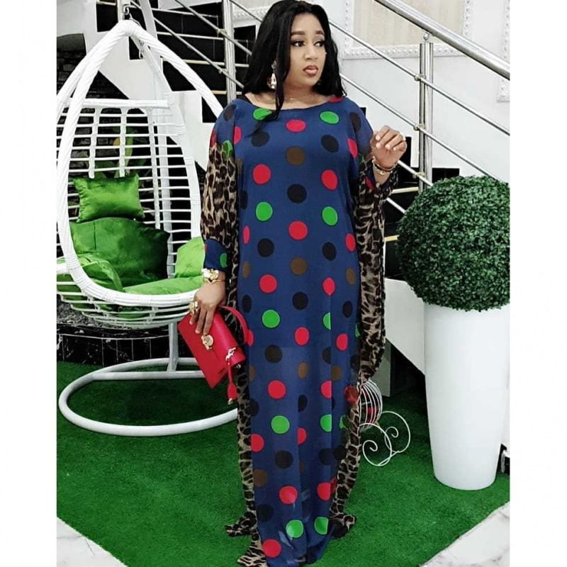 Spring Long Sleeve Maxi Dress African Ladies Rich Bazin Golden Print Vintage Plus Size Floor Length Women Party Long Dress