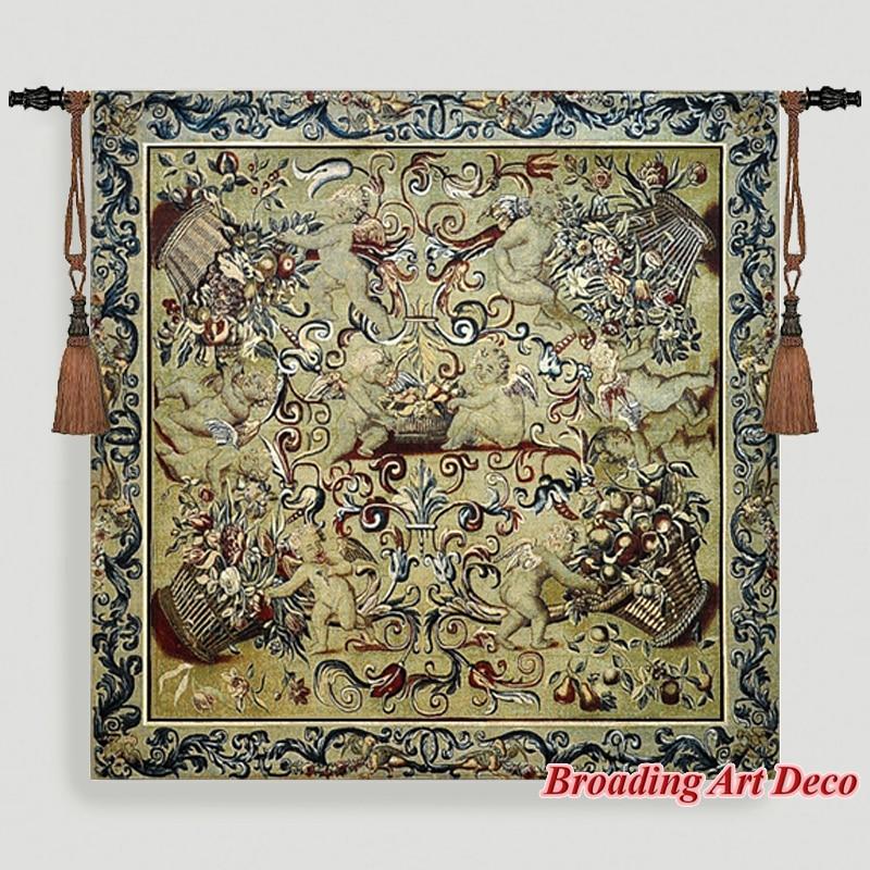 Querubines Jacquard tejido arte tapiz colgante de pared gobelín textiles para el hogar Decoración pequeño ángel Aubusson algodón 100% 100x100cm