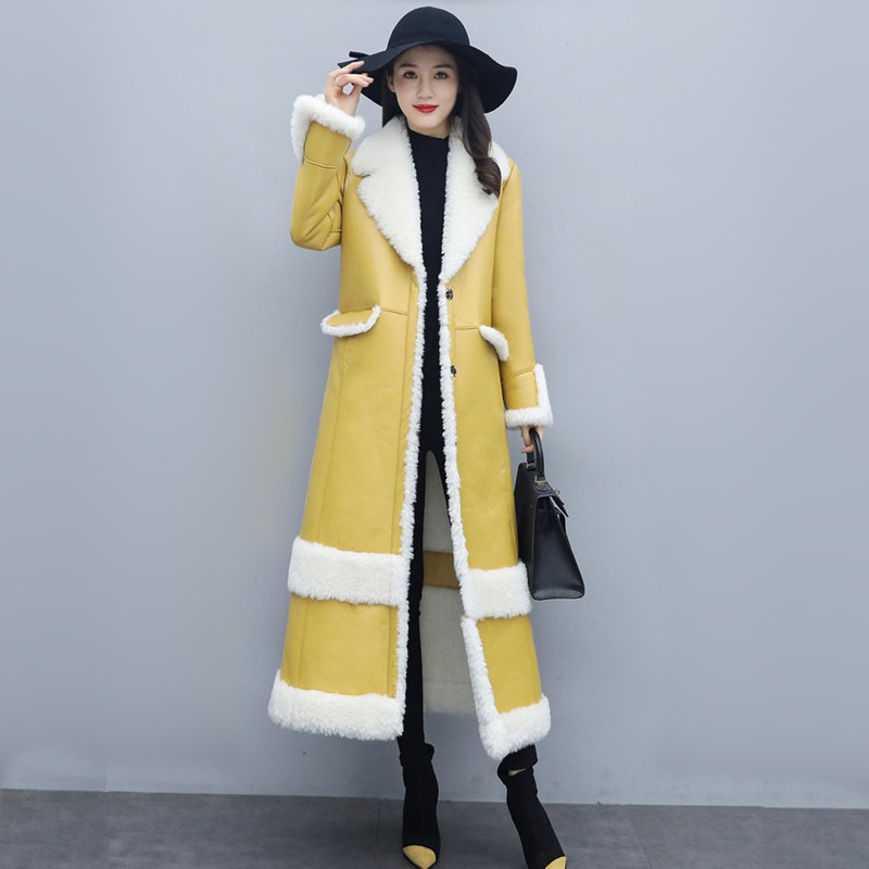 Women Leather Coat Winter 2021 New Fashion Elegant EmbroideryThick Warm Double-faced Fur Outerwear Loose Long Tops Female